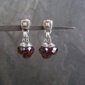 Shop Garnet Earrings! Garnet earrings, dainty dangle, teardrop cluster, faceted garnet, briolette drops, oxidized silver, square studs, genuine gemstone, red | Natural genuine Garnet earrings. Buy crystal jewelry, handmade handcrafted artisan jewelry for women.  Unique handmade gift ideas. #jewelry #beadedearrings #beadedjewelry #gift #shopping #handmadejewelry #fashion #style #product #earrings #affiliate #ad