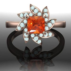 Floral Cluster Ring with Orange Spessartite Garnet and Blue Diamonds | Princess Cut Rose Gold Band | Natural genuine Gemstone rings, simple unique handcrafted gemstone rings. #rings #jewelry #shopping #gift #handmade #fashion #style #affiliate #ad