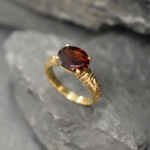Gold Garnet Ring, Garnet Ring, Natural Garnet, January Birthstone, Tribal Ring, Gold Vintage Ring, Gold Horizontal Ring, Red Diamond Ring | Natural genuine Garnet rings, simple unique handcrafted gemstone rings. #rings #jewelry #shopping #gift #handmade #fashion #style #affiliate #ad