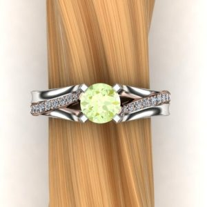 Shop Garnet Engagement Rings! Green Garnet Ring with Diamond Accents, 14k White Gold and 14K Rose Gold Mixed Metals – Mint Grossular Garnet | Natural genuine Garnet rings, simple unique handcrafted gemstone rings. #rings #jewelry #shopping #gift #handmade #fashion #style #affiliate #ad
