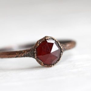 Shop Garnet Rings! Garnet Ring – January Birthstone Ring – Silver Garnet Solitaire – Copper Ring – Faceted Crystal Ring | Natural genuine Garnet rings, simple unique handcrafted gemstone rings. #rings #jewelry #shopping #gift #handmade #fashion #style #affiliate #ad