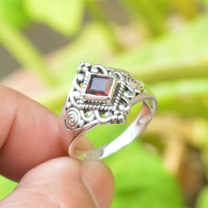 Shop Garnet Rings! Natural Garnet Ring, Oxidized Ring, 925 Sterling Silver Rings, Women Rings Jewelry, 5mm Square Garnet Ring, Red Garnet Ring, Gemstone Ring | Natural genuine Garnet rings, simple unique handcrafted gemstone rings. #rings #jewelry #shopping #gift #handmade #fashion #style #affiliate #ad