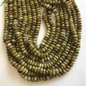 """Shop Garnet Rondelle Beads! natural green garnet 6x3mm 8x4mm Rondelle Gemstone Beads -15.5""""– 