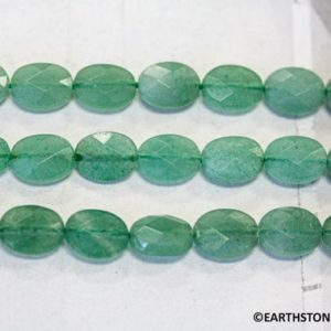 "Shop Aventurine Faceted Beads! M/ Genuine Green Aventurine 8x10mm/ 13x18mm Faceted Flat Oval beads. 15.5"" long  More selection at EARTHSTONE.COM 
