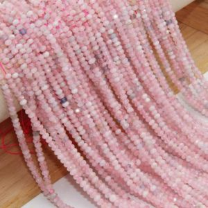 Shop Morganite Rondelle Beads! Genuine Morganite Faceted Rondelle Beads,2x3mm/2.5x4mm Semi Precious Stone Faceted Beads,Loose Morganite Faceted Rondelle Gemstone Beads. | Natural genuine rondelle Morganite beads for beading and jewelry making.  #jewelry #beads #beadedjewelry #diyjewelry #jewelrymaking #beadstore #beading #affiliate #ad