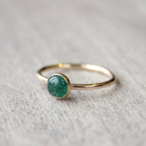 Gold Aventurine Ring // 14K Gold Filled Aventurine Stacking Ring // May Birthstone Ring // Gold Filled Ring // Emerald Green Stone Ring | Natural genuine Aventurine rings, simple unique handcrafted gemstone rings. #rings #jewelry #shopping #gift #handmade #fashion #style #affiliate #ad