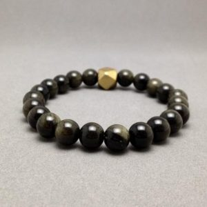Shop Golden Obsidian Bracelets! 8mm Gold Sheen Obsidian Bead Bracelet with Geometric Brass Focal Bead | Natural genuine Golden Obsidian bracelets. Buy crystal jewelry, handmade handcrafted artisan jewelry for women.  Unique handmade gift ideas. #jewelry #beadedbracelets #beadedjewelry #gift #shopping #handmadejewelry #fashion #style #product #bracelets #affiliate #ad