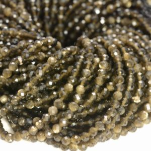 2MM Golden Obsidian Gemstone Micro Faceted Round Grade Aaa Beads 15.5inch WHOLESALE (80010199-A193) | Natural genuine faceted Golden Obsidian beads for beading and jewelry making.  #jewelry #beads #beadedjewelry #diyjewelry #jewelrymaking #beadstore #beading #affiliate #ad