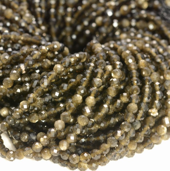 2mm Golden Obsidian Gemstone Micro Faceted Round Grade Aaa Beads 15.5inch Wholesale (80010199-a193)