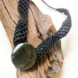 Golden Obsidian Necklace, Black Necklace, Round Golden Obsidian Necklace, Wide Black Macrame Necklace, Volcanic Lava Stone, Mexican Obsidian | Natural genuine Golden Obsidian necklaces. Buy crystal jewelry, handmade handcrafted artisan jewelry for women.  Unique handmade gift ideas. #jewelry #beadednecklaces #beadedjewelry #gift #shopping #handmadejewelry #fashion #style #product #necklaces #affiliate #ad