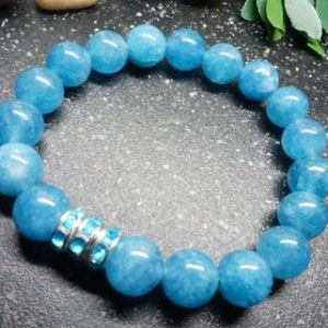 Shop Blue Chalcedony Bracelets! Gorgeous Blue Chalcedony Bracelet,10mm Beads With AAA Blue Rhinestone Rondelles | Natural genuine Blue Chalcedony bracelets. Buy crystal jewelry, handmade handcrafted artisan jewelry for women.  Unique handmade gift ideas. #jewelry #beadedbracelets #beadedjewelry #gift #shopping #handmadejewelry #fashion #style #product #bracelets #affiliate #ad