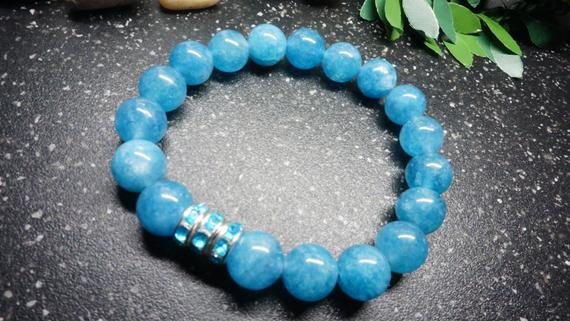 Gorgeous Blue Chalcedony Bracelet,10mm Beads With Aaa Blue Rhinestone Rondelles