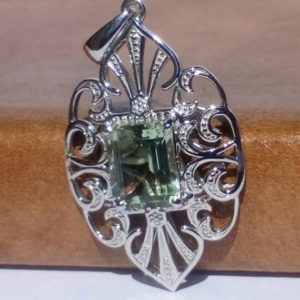 Shop Green Amethyst Pendants! 3.25ct Prasiolite (green amethyst) solitaire pendant | Natural genuine Green Amethyst pendants. Buy crystal jewelry, handmade handcrafted artisan jewelry for women.  Unique handmade gift ideas. #jewelry #beadedpendants #beadedjewelry #gift #shopping #handmadejewelry #fashion #style #product #pendants #affiliate #ad