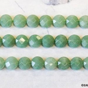 Shop Aventurine Faceted Beads! M/ Green Aventurine 10mm/ 8mm Faceted Coin Beads 15.5 inches long, Natural Green Gemstone Faceted Cut, Good For Earring, DIY Jewelry Designs | Natural genuine faceted Aventurine beads for beading and jewelry making.  #jewelry #beads #beadedjewelry #diyjewelry #jewelrymaking #beadstore #beading #affiliate #ad