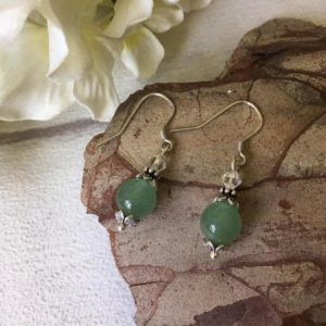 Shop Aventurine Earrings! Green Aventurine Bead Earrings, Sterling Silver Earrings, Small Aventurine Earrings, Green Gemstone Earrings, Healing Crystal Earrings | Natural genuine Aventurine earrings. Buy crystal jewelry, handmade handcrafted artisan jewelry for women.  Unique handmade gift ideas. #jewelry #beadedearrings #beadedjewelry #gift #shopping #handmadejewelry #fashion #style #product #earrings #affiliate #ad
