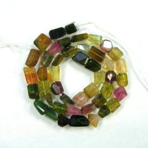 "Shop Green Tourmaline Beads! Pink, yellow, green TOURMALINE faceted nugget beads AA+ 8-12mm 18"" strand 