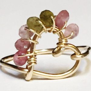 Shop Watermelon Tourmaline Rings! Green Tourmaline Ring, Watermelon Tourmaline Ring, Heart Ring, Pink Tourmaline Ring, October Birthstone | Natural genuine Watermelon Tourmaline rings, simple unique handcrafted gemstone rings. #rings #jewelry #shopping #gift #handmade #fashion #style #affiliate #ad