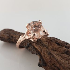 Shop Morganite Rings! Hand-Cut Morganite Twig Engagement Ring, 14k Rose Gold Gemstone Solitaire Ring, Engagement Ring by DV Designs | Natural genuine Morganite rings, simple unique alternative gemstone engagement rings. #rings #jewelry #bridal #wedding #jewelryaccessories #engagementrings #weddingideas #affiliate #ad
