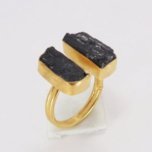 Shop Black Tourmaline Jewelry! Handmade Ring, Black Tourmaline Ring, Gold Plated Ring, Bezel Set Ring, Healing Stone Ring, Rough Stone Ring, Adjustable Ring, Gift For Her | Natural genuine Black Tourmaline jewelry. Buy crystal jewelry, handmade handcrafted artisan jewelry for women.  Unique handmade gift ideas. #jewelry #beadedjewelry #beadedjewelry #gift #shopping #handmadejewelry #fashion #style #product #jewelry #affiliate #ad