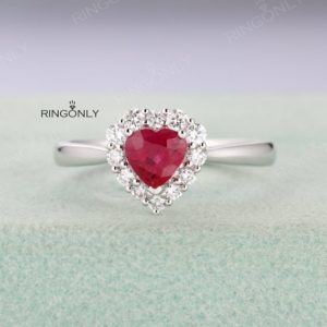 Heart shaped Ruby engagement ring in white gold,halo diamond wedding ring,unique ring,Anniversary ,Bridal Jewelry, Art Deco Ring | Natural genuine Array rings, simple unique alternative gemstone engagement rings. #rings #jewelry #bridal #wedding #jewelryaccessories #engagementrings #weddingideas #affiliate #ad
