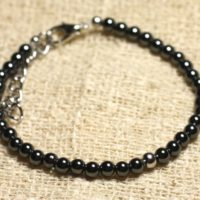 Bracelet 925 Sterling Silver And Semi Precious Hematite 4 Mm | Natural genuine Gemstone jewelry. Buy crystal jewelry, handmade handcrafted artisan jewelry for women.  Unique handmade gift ideas. #jewelry #beadedjewelry #beadedjewelry #gift #shopping #handmadejewelry #fashion #style #product #jewelry #affiliate #ad