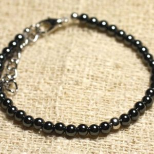 Bracelet 925 sterling silver and semi precious Hematite 4 mm | Natural genuine Array bracelets. Buy crystal jewelry, handmade handcrafted artisan jewelry for women.  Unique handmade gift ideas. #jewelry #beadedbracelets #beadedjewelry #gift #shopping #handmadejewelry #fashion #style #product #bracelets #affiliate #ad