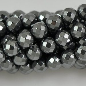 Shop Hematite Faceted Beads! 4mm,6mm,8mm,10mm Hematite Faceted Round Beads — 15 inch strand | Natural genuine faceted Hematite beads for beading and jewelry making.  #jewelry #beads #beadedjewelry #diyjewelry #jewelrymaking #beadstore #beading #affiliate #ad