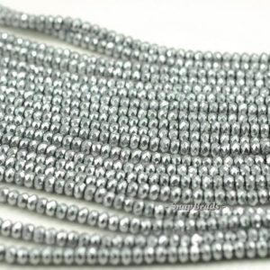 Shop Hematite Faceted Beads! 4x3mm Silver Hematite Gemstone Silver Faceted Rondelle Loose Beads 15.5 inch Full Strand (90188963-149) | Natural genuine faceted Hematite beads for beading and jewelry making.  #jewelry #beads #beadedjewelry #diyjewelry #jewelrymaking #beadstore #beading #affiliate #ad