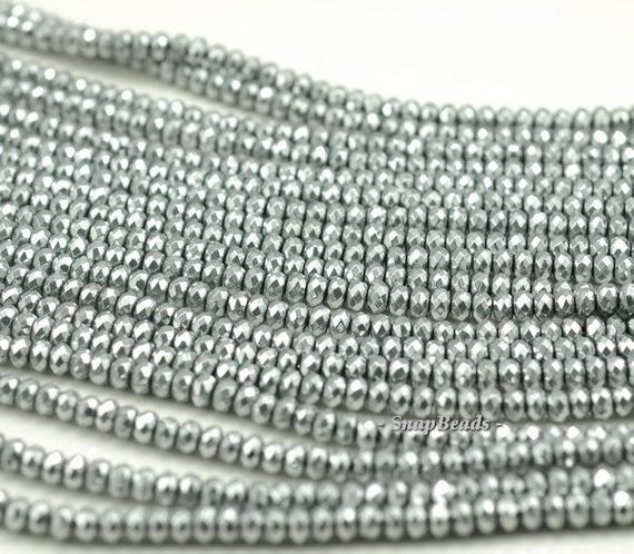 4x3mm Silver Hematite Gemstone Silver Faceted Rondelle Loose Beads 15.5 Inch Full Strand (90188963-149)