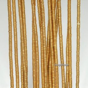 2x1mm Gold Hematite Gemstone Gold Rondelle 2x1mm Loose Beads 15.5 Inch Full Strand (90188637-335) | Natural genuine rondelle Hematite beads for beading and jewelry making.  #jewelry #beads #beadedjewelry #diyjewelry #jewelrymaking #beadstore #beading #affiliate #ad