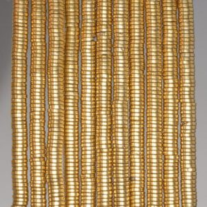 4x1mm Gold Hematite Gemstone Rondelle Heishi 4x1mm Loose Beads 16 inch Full Strand (90185671-838) | Natural genuine rondelle Hematite beads for beading and jewelry making.  #jewelry #beads #beadedjewelry #diyjewelry #jewelrymaking #beadstore #beading #affiliate #ad