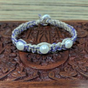 Shop Hemp Jewelry! Hemp Macrame Freshwater Pearl Bracelet,Pearl Bracelet,Hemp Jewelry,Purple Hemp,Beige Hemp,Mactame Jewelry,Boho Jewelry,Boho Jewelry | Shop jewelry making and beading supplies, tools & findings for DIY jewelry making and crafts. #jewelrymaking #diyjewelry #jewelrycrafts #jewelrysupplies #beading #affiliate #ad