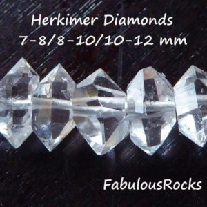 Herkimer Diamonds Nuggets Beads  6-8, 8-10, 10-12, 12-14, 14-18 mm  AAA+ Quartz Crystals Wholesale Double Terminated Gemstone  s m l xl xxl | Natural genuine chip Herkimer Diamond beads for beading and jewelry making.  #jewelry #beads #beadedjewelry #diyjewelry #jewelrymaking #beadstore #beading #affiliate #ad