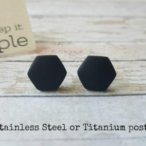 Hexagon stud earrings black, Black studs unisex, Titanium earrings hexagon black, Hexagon studs minimalist, Matte black studs for him or her | Natural genuine Gemstone earrings. Buy crystal jewelry, handmade handcrafted artisan jewelry for women.  Unique handmade gift ideas. #jewelry #beadedearrings #beadedjewelry #gift #shopping #handmadejewelry #fashion #style #product #earrings #affiliate #ad
