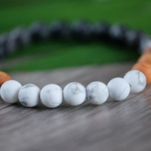 Shop Howlite Bracelets! ANTI-STRESS & STAMINA Mens 8mm Unisex Natural White Howlite Black Zebra Stone Cedarwood Genuine Gemstone Bracelet | Natural genuine Howlite bracelets. Buy handcrafted artisan men's jewelry, gifts for men.  Unique handmade mens fashion accessories. #jewelry #beadedbracelets #beadedjewelry #shopping #gift #handmadejewelry #bracelets #affiliate #ad