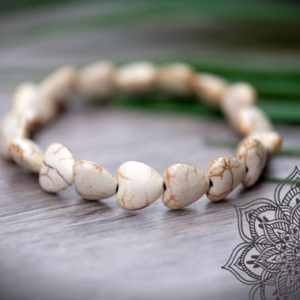 Shop Howlite Bracelets! SO CALMING Heart Shaped Natural White Polished Howlite Bead Bracelet | Natural genuine Howlite bracelets. Buy crystal jewelry, handmade handcrafted artisan jewelry for women.  Unique handmade gift ideas. #jewelry #beadedbracelets #beadedjewelry #gift #shopping #handmadejewelry #fashion #style #product #bracelets #affiliate #ad