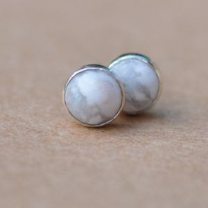 Shop Howlite Earrings! Howlite Earrings,  5mm White Howlite Jewelry Studs, Natural Marble Effect Jewelry | Natural genuine Howlite earrings. Buy crystal jewelry, handmade handcrafted artisan jewelry for women.  Unique handmade gift ideas. #jewelry #beadedearrings #beadedjewelry #gift #shopping #handmadejewelry #fashion #style #product #earrings #affiliate #ad