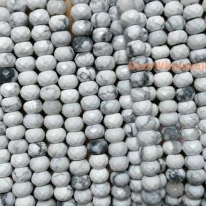 """Shop Howlite Faceted Beads! 15.5"""" 4x6mm Natural White Howlite Roundel Faceted Beads, Semi-precious Stone, Diy Beads, Rondelle Faceted White Gemstone Wholesale 