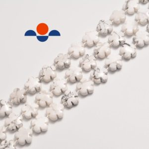 """Shop Howlite Bead Shapes! Howlite Flower Shape Beads Size 15mm 15.5"""" Strand 