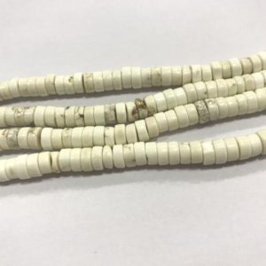 Genuine Howlite 4mm – 10mm Heishi Natural Loose White Gemstone Beads 15 Inch Jewelry Supply Bracelet Necklace Material Support Wholesale | Natural genuine other-shape Gemstone beads for beading and jewelry making.  #jewelry #beads #beadedjewelry #diyjewelry #jewelrymaking #beadstore #beading #affiliate #ad