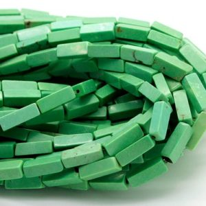 Green Howlite Rectangle Tube Bricks Gemstone Beads 4mm x 4mm x 13mm | Natural genuine other-shape Gemstone beads for beading and jewelry making.  #jewelry #beads #beadedjewelry #diyjewelry #jewelrymaking #beadstore #beading #affiliate #ad