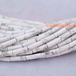 "Shop Howlite Round Beads! 15.5"" 4x13mm White howlite round tubes, white gemstone tube, semi-precious stone Cylinder,natural white howlite Cylinder | Natural genuine round Howlite beads for beading and jewelry making.  #jewelry #beads #beadedjewelry #diyjewelry #jewelrymaking #beadstore #beading #affiliate #ad"