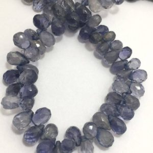 "Shop Iolite Bead Shapes! 65 carats Iolite Faceted Drops 5X6 TO 7X 8 MM 8""/Gemstone Beads/Semi precious Beads/Iolite Beads/Faceted Drops 