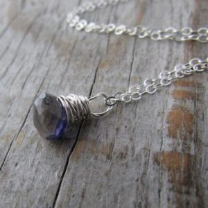 Shop Iolite Pendants! Iolite Necklace, tiny, wire wrapped, iolite gemstone pendant | Natural genuine Iolite pendants. Buy crystal jewelry, handmade handcrafted artisan jewelry for women.  Unique handmade gift ideas. #jewelry #beadedpendants #beadedjewelry #gift #shopping #handmadejewelry #fashion #style #product #pendants #affiliate #ad