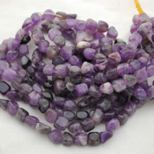 "Shop Jade Chip & Nugget Beads! High Quality Grade A Natural Dark Purple Mauve Jade Semi-precious Gemstone Pebble Tumbled stone Nugget Beads approx 7mm-10mm – 15"" strand 