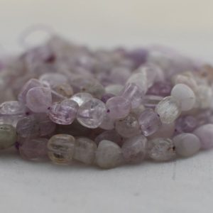"Shop Jade Chip & Nugget Beads! High Quality Grade A Natural Light Purple Mauve Jade Semi-precious Gemstone Pebble Tumbled stone Nugget Beads approx 7mm-10mm – 15"" strand 