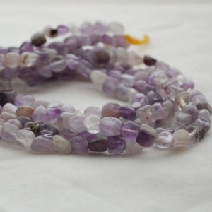 "Shop Jade Chip & Nugget Beads! High Quality Grade A Natural Light Purple Mauve Jade Semi-Precious Gemstone Tumbled Stone Nugget Pebble Beads – approx 5mm – 8mm – 15.5"" len 