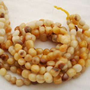 "Shop Jade Chip & Nugget Beads! High Quality Grade A Natural Yellow Jade Semi-precious Gemstone Pebble Tumbled stone Nugget Beads approx 7mm-10mm – 15"" strand 