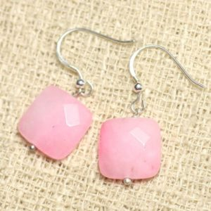 Shop Jade Earrings! Earrings 925 Sterling Silver And Stone – Pink Jade Square Clear Faceted 14 Mm | Natural genuine Jade earrings. Buy crystal jewelry, handmade handcrafted artisan jewelry for women.  Unique handmade gift ideas. #jewelry #beadedearrings #beadedjewelry #gift #shopping #handmadejewelry #fashion #style #product #earrings #affiliate #ad