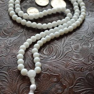 Shop Jade Necklaces! 108 Mala Beads White Jade Handmade Necklace – Blessed & Energized Karma Nirvana Meditation 8 mm Prayer Beads For Awakening Chakra Kundal | Natural genuine Jade necklaces. Buy crystal jewelry, handmade handcrafted artisan jewelry for women.  Unique handmade gift ideas. #jewelry #beadednecklaces #beadedjewelry #gift #shopping #handmadejewelry #fashion #style #product #necklaces #affiliate #ad
